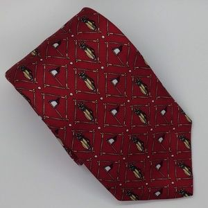 Tommy Hilfiger Gold Themed Red Tie